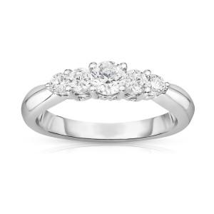 White Gold Diamond 5-Stone Ring - Custom Made By Yaffie™