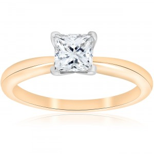 Gold 1 ct TDW Solitaire Princess Cut Diamond GIA Certified Engagement Ring - Custom Made By Yaffie™