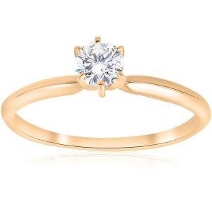 Gold 1/4 ct TDW Solitaire Diamond Engagement Ring - Custom Made By Yaffie™