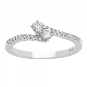1/4ct Two Diamond Plus Pave Ring In White Gold - Custom Made By Yaffie™