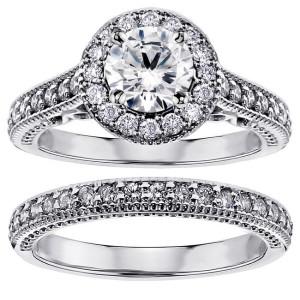 14k/ White Gold 1 3/4ct TDW White Diamond Halo Engagement Bridal Ring Set - Custom Made By Yaffie™