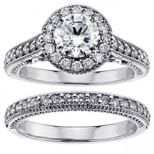 14k/ White Gold 1 3/4ct TDW White Diamond Halo Engagement Bridal Ring Set - Custom Made By Yaffie™