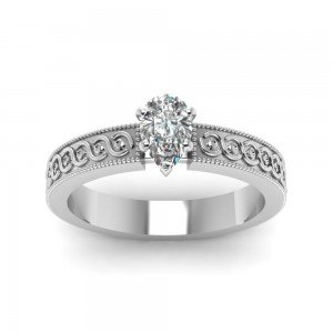 Gold 1/2ct. Pear-shaped Diamond Solitaire Filigree-band Engagement Ring by - Custom Made By Yaffie™
