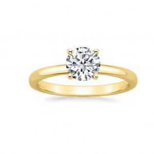 Gold 1ct TDW GIA Certified Round-cut Diamond Engagement Ring - Custom Made By Yaffie™