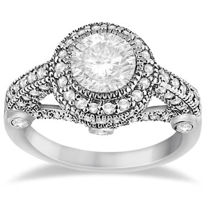 Gold 1ct TDW Vintage Diamond Halo Art Deco Engagement Ring Setting - Custom Made By Yaffie™