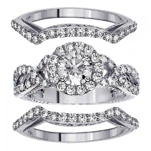 Gold 2 3/4ct TDW Braided Mount Halo Diamond Engagement Bridal-set with 2 Matching Bands - Custom Made By Yaffie™