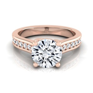 Rose Gold 1 1/3ct TDW Round Diamond Pave Shank Solitaire Engagement Ring - Custom Made By Yaffie™