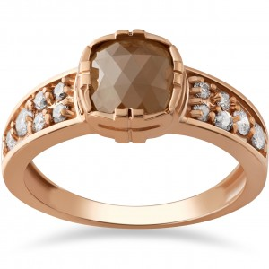 Rose Gold 1 1/4ct TDW Raw Rough Cut Diamond Slice Engagement Ring - Custom Made By Yaffie™