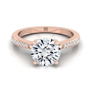 Rose Gold 1 1/8ct TDW Round Diamond Solitaire Pave Shank Engagement Ring - Custom Made By Yaffie™