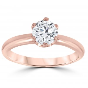 Rose Gold 1 ct TDW Solitaire Round Diamond Clarity Enhanced 6-Prong Engagement Ring - Custom Made By Yaffie™