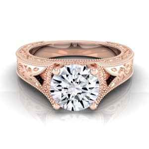 Rose Gold 1/2ctw TDW White Diamond Millgrain Finish Engagement Ring - Custom Made By Yaffie™