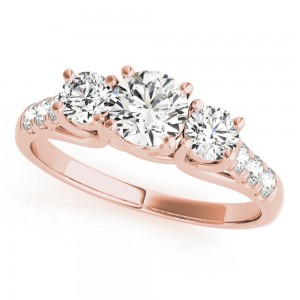 Rose Gold 1/4ct TDW White Diamond Three-Stone Engagement Ring - Custom Made By Yaffie™