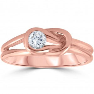 Rose Gold 1/5 ct TDW Solitaire Round Diamond Knot EngagementAnniversary Ring - Custom Made By Yaffie™