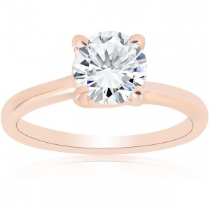 Rose Gold 1ct TDW Diamond Round Brilliant Cut Solitaire Clarity Enhanced Engagement Ring - Custom Made By Yaffie™