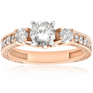 Rose Gold 1ct TDW Diamond Vintage Engagement Hand Engraved Ring - Custom Made By Yaffie™