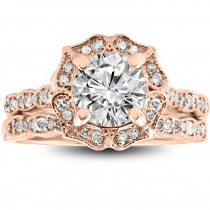 Rose Gold 2 cttw Diamond Clarity Enhanced Halo Vintage Engagement Ring & Wedding Band - Custom Made By Yaffie™
