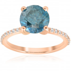Rose Gold 3 1/5 ct TDW Blue Diamond Engagement Anniversary Ring - Custom Made By Yaffie™
