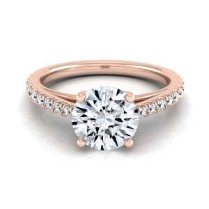 Rose Gold 3/4ct TDW White Diamond Classic 4 Prong Engagement Ring - Custom Made By Yaffie™