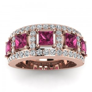 Rose Gold 7/8ct TDW Round- and Princess-cut Diamond and Sapphire Anniversary Band - Custom Made By Yaffie™