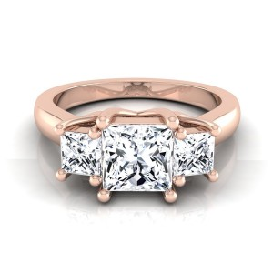 Rose Gold IGI-certified 1 1/2ct TDW Princess-cut 3-stone Engagement Ring - Custom Made By Yaffie™