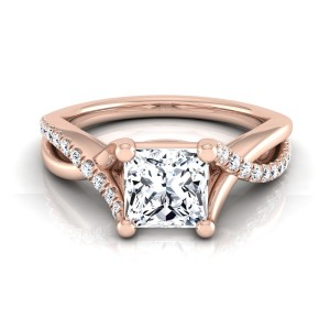 Rose Gold IGI-certified 1 1/6ct TDW Princess-cut Diamond Infinity Engagement Ring - Custom Made By Yaffie™