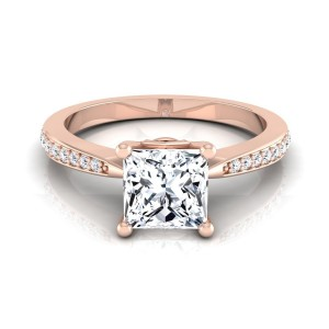 Rose Gold IGI-certified 1 1/8ct TDW Princess-cut Diamond Solitaire Engagement Ring - Custom Made By Yaffie™