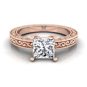 Rose Gold IGI-certified 1ct TDW Princess-cut Diamond Solitaire Engagement Ring - Custom Made By Yaffie™