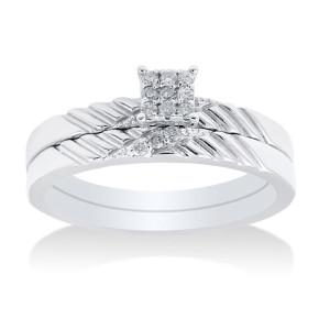 White Gold 0.25ct TDW Diamond Bridal Set - Custom Made By Yaffie™