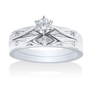 White Gold 0.35ct TDW Simple Modern Diamond Bridal Set - Custom Made By Yaffie™