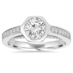 White Gold 1 1/10 ct TDW Diamond Bezel Engagement Wedding Ring - Custom Made By Yaffie™
