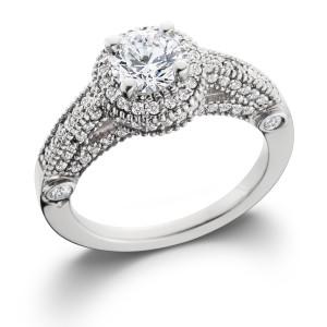 White Gold 1 1/10 ct TDW Vintage Diamond Round Engagement Wedding Ring - Custom Made By Yaffie™