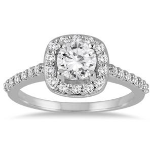 White Gold 1 1/10ct TDW Diamond Halo Engagement Ring - Custom Made By Yaffie™