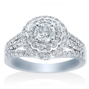 White Gold 1 1/10ct TDW Double Halo Diamond Engagement Ring - Custom Made By Yaffie™