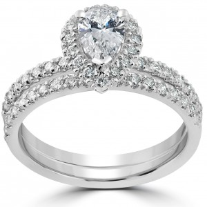 White Gold 1 1/10ct TDW Pear Shape Halo Diamond Engagement Wedding Ring Set - Custom Made By Yaffie™