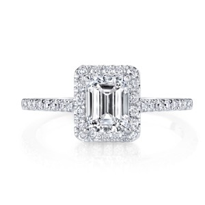 White Gold 1 1/2Ct TDW Halo Certified Emerald Cut Diamond Engagement Ring - Custom Made By Yaffie™