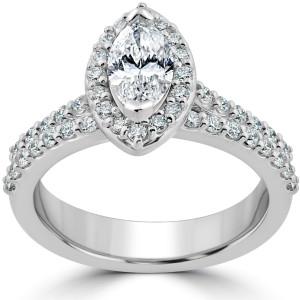 White Gold 1 1/2ct TDW Marquise Halo Clarity Enhanced Diamond Engagement Wedding Ring Set - Custom Made By Yaffie™