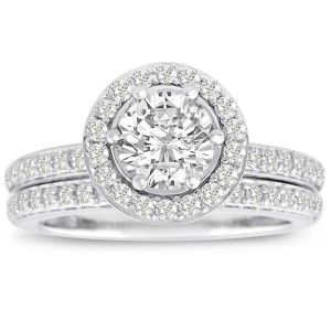 White Gold 1 1/2ct TDW Micro Pave Diamond Bridal Set - Custom Made By Yaffie™