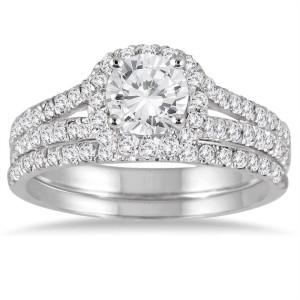 White Gold 1 1/2ct TDW Round Diamond Halo Bridal Set - Custom Made By Yaffie™