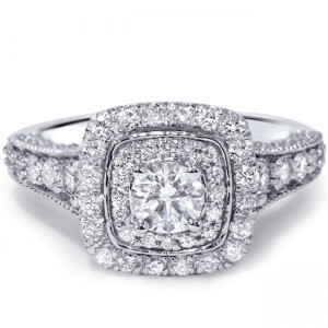 White Gold 1 1/2ct TDW Vintage Diamond Ring - Custom Made By Yaffie™
