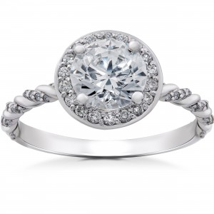 White Gold 1 1/3 ct Lab Grown Diamond Eco Friendly McKenna Halo Engagement Ring - Custom Made By Yaffie™