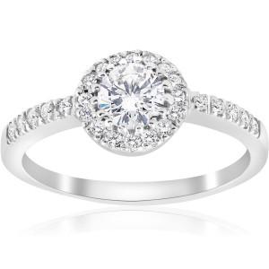 White Gold 1 1/3 ct TDW Diamond Clarity Enhanced Halo Engagement Ring - Custom Made By Yaffie™