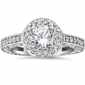White Gold 1 1/3 cttw Diamond Clarity Enhanced Antique Halo Art Deco Engagement Ring - Custom Made By Yaffie™