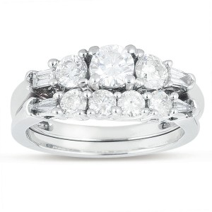 White Gold 1 1/3ct TDW Round Diamond Engagement Ring Set - Custom Made By Yaffie™