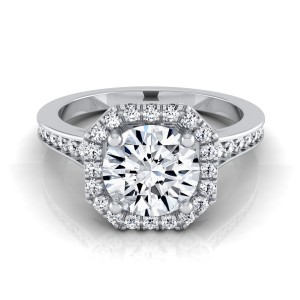 White Gold 1 1/3ct TDW Round Diamond Octagon Halo Engagement Ring - Custom Made By Yaffie™