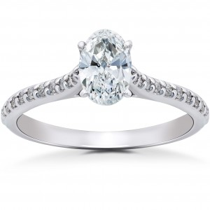 White Gold 1 1/4 ct TDW Oval Diamond Vintage Engagement Ring Solitaire Single Accent Row Setting - Custom Made By Yaffie™