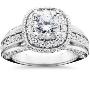 White Gold 1 1/4ct TDW Cushion Halo Round Diamond Engagement Ring - Custom Made By Yaffie™