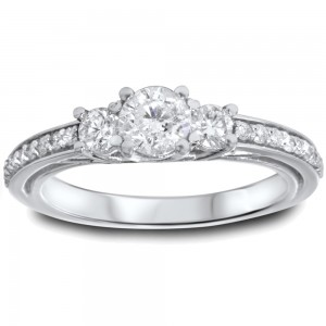 White Gold 1 1/4ct TDW Diamond 3-stone Engagement Ring - Custom Made By Yaffie™