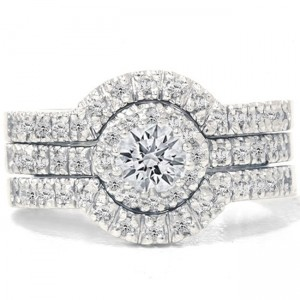 White Gold 1 1/4ct TDW Diamond Halo Bridal Ring Set - Custom Made By Yaffie™