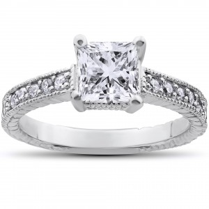 White Gold 1 1/4ct TDW Vintage Princess Cut Clarity Enhanced Diamond Ring - Custom Made By Yaffie™