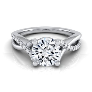 White Gold 1 1/6ct TDW Diamond IGI-certified Engagement Ring With Pave Infinity Shank - Custom Made By Yaffie™